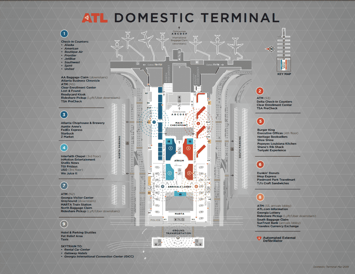 atlanta airport south terminal map A Guide To Hartsfield Jackson Atlanta International Airport atlanta airport south terminal map